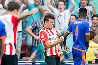 EINDHOVEN - PSV - Feyenoord , Voetbal , Seizoen 2015/2016 , Eredivisie , Philips Stadion , 30-08-2015 , PSV speler Santiago Arias (m) scoort de 2-1 en viert dit terwijl Speler van Feyenoord Terence Kongolo (r) teleurgesteld toe kijkt