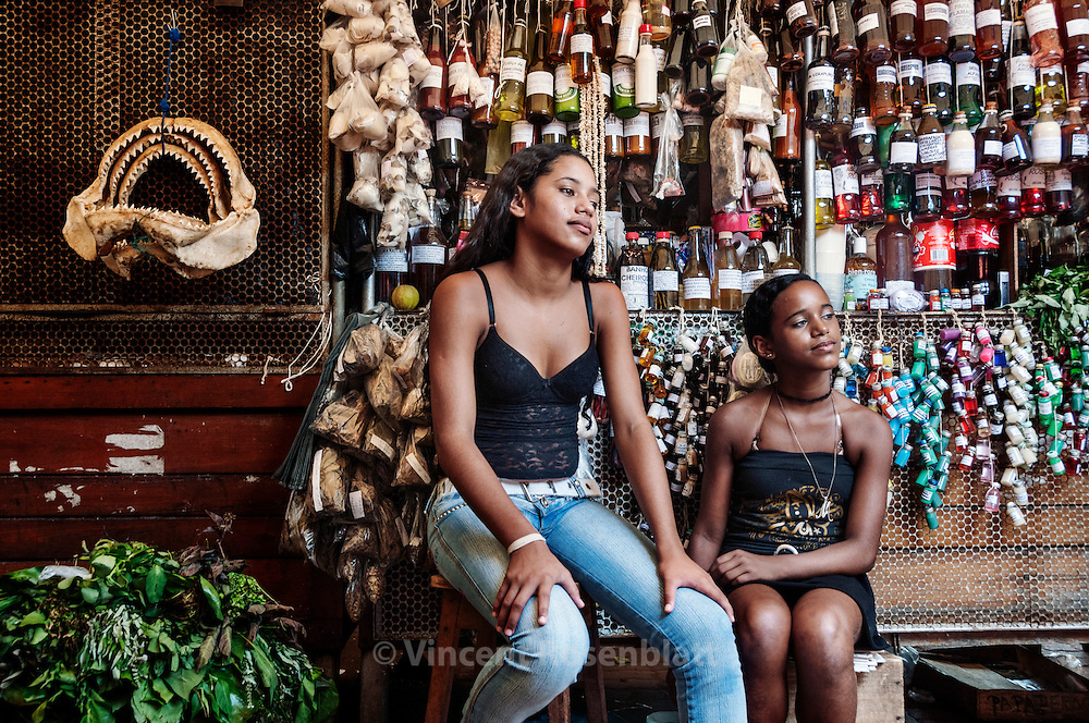 Medicinal indigenous products shop  at the Ver-o-Peso fair of Belem..