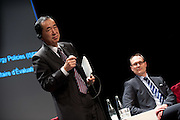 "Conference ""Fukushima, nuclear accident - four years later"", (right) Green Cross Paris, France, COO Green Cross International Adam Koniuszewski, Naoto Kan ancient Prime Minister of Japan, he resigned six months after the Fukushima nuclear accident."