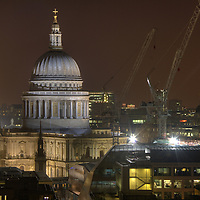View towards St Pauls Cathedral at night