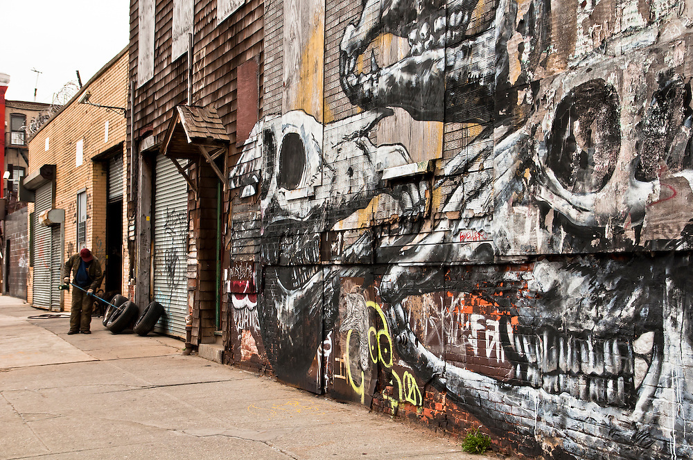 Skeletons painted on Grattan Street in Bushwick, Brooklyn, New York, 2011