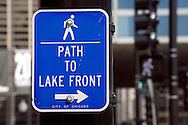 A photo of a sign to the Chicago Lake Front