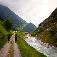 Golzern, Switzerland - walking back to the cars along a track next to a mountain stream.