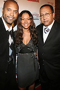 "l to r: Londell McMillan, Valiesha Butterfield and Dr, Ben Chavis at The Russell Simmons and Spike Lee  co-hosted ""I AM C.H.A.N.G.E!"" Get out the Vote Party presented by The Source Magazine and The HipHop Summit Action Network held at Home on October 30, 2008 in New York City"