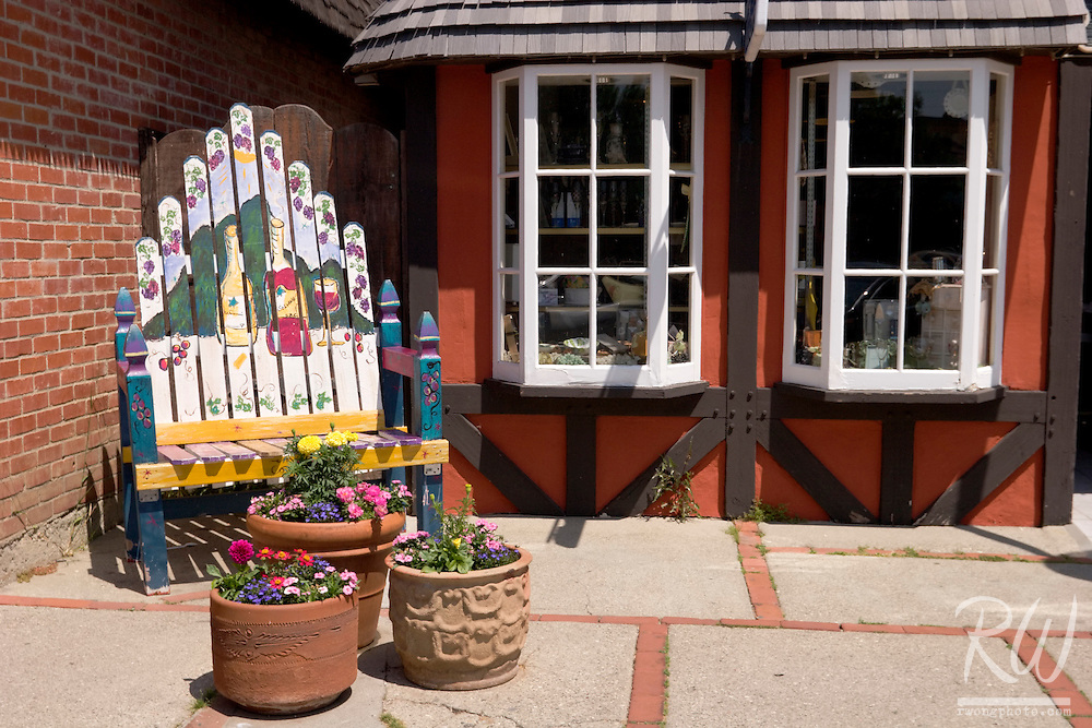 Wooden Chair, Flower Pots and Danish Half-Timbered House Windows, Solvang, California