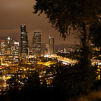Seattle city lights at night from the Dr. Jose Rizal park overlook.