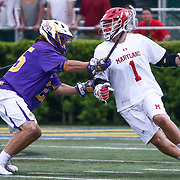 Albany Midfielder STONE SIMS (25) and Maryland Defenseman MATT RAMBO (1) in action during the second half of a 2017 NCAA Division I Men's Lacrosse Quarterfinals game between #1 Maryland and #8 Albany Sunday, May. 21, 2017 at Delaware Stadium in Newark, Delaware.