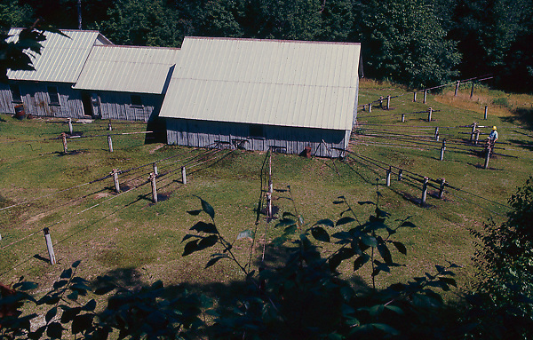 Stock aerial photo of central field pumping station in Pennsylvania that pumped oil from numerous well sites