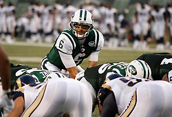 Aug 14, 2009; East Rutherford, NJ, USA;   New York Jets quarterback Mark Sanchez (6) takes the snap during the first half at Giants Stadium.