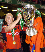 Cardiff, WALES.  Munster's, Peter Stringer holds the Heineken Cup after Munster win th 2006 Heineken Cup Final, at the Millennium Stadium, beating, Biarritz Olympique, 23 points to 19.  Stringer also picked up the man of the match award.  20.05.2006. © Peter Spurrier/Intersport-images.com,  / Mobile +44 [0] 7973 819 551 / email images@intersport-images.com.   [Mandatory Credit, Peter Spurier/ Intersport Images].14.05.2006   [Mandatory Credit, Peter Spurier/ Intersport Images].