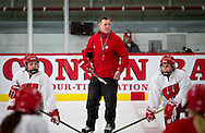 UW-Madison Women's Hockey coach Mark Johnson looks on during practice in LaBahn Arena, Tuesday, January 6, 2015.