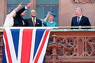 25-6-2015 FRANKFURT  - Britain's Queen Elizabeth II and her husband Prince Philip, The Duke of Edinburgh with German President Joachim Gauck (R) and partner of the German President Daniela Schadt (L) as they arrive at balcony .COPYRIGHTROBIN UTRECHT