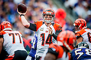 Cincinatti Bengal quarterback, Andy Dalton, passes downfield during the fourth quarter against the Baltimore Ravens at M&M Bank Stadium on September 27, 2015 in Baltimore, Maryland.  The Bengals won the game 28-24. Photo by Pete Marovich/UPI