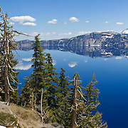 Crater Lake National Park, Wizard Island, Oregon, USA. Panorama stitched from 5 overlapping images.