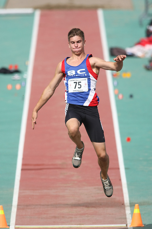 (Sherbrooke, Quebec---10 August 2008) Jared Heldman competing in the youth boys long jump at the 2008 Canadian National Youth and Royal Canadian Legion Track and Field Championships in Sherbrooke, Quebec. The photograph is copyright Sean Burges/Mundo Sport Images, 2008. More information can be found at www.msievents.com.
