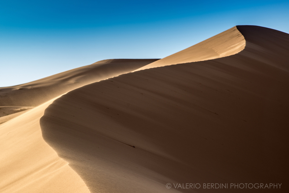 A wind swept dune before sunset in the middle of the Sahara sandy desert in Eastern Morocco, at the border with Algeria.