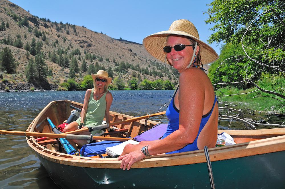Two womwen in Drift Boat on Deschutes River, Central Oregon,Oregon,USA