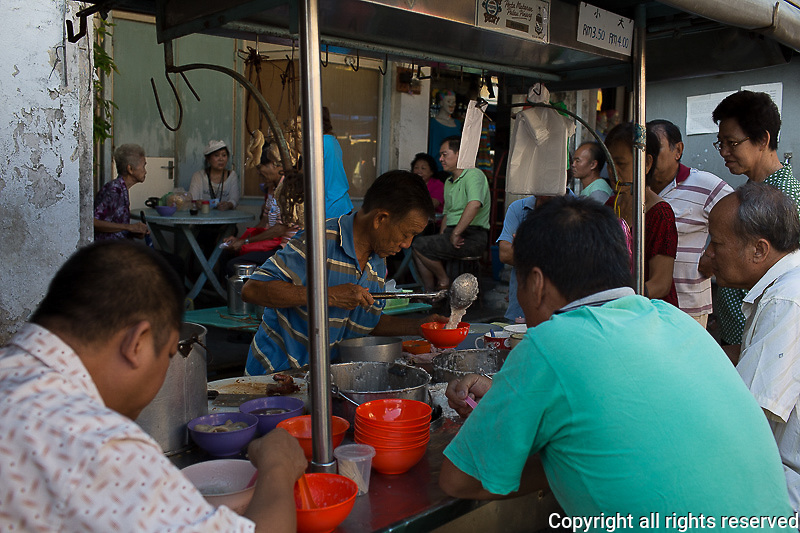 congee stall in Chow Rasta morning market