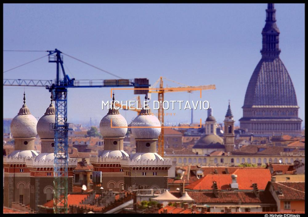 Torino Mole Antonelliana  e cupole della Sinagoga del quartiere di San Salvario