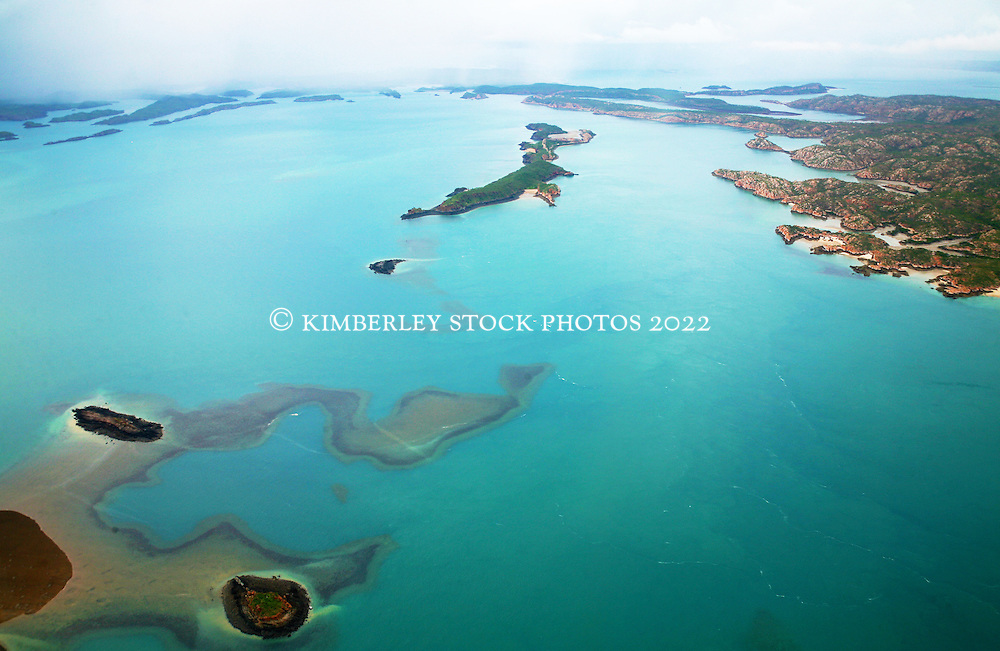 Aerial view of islands and reefs in the Buccaneer Archipelago.