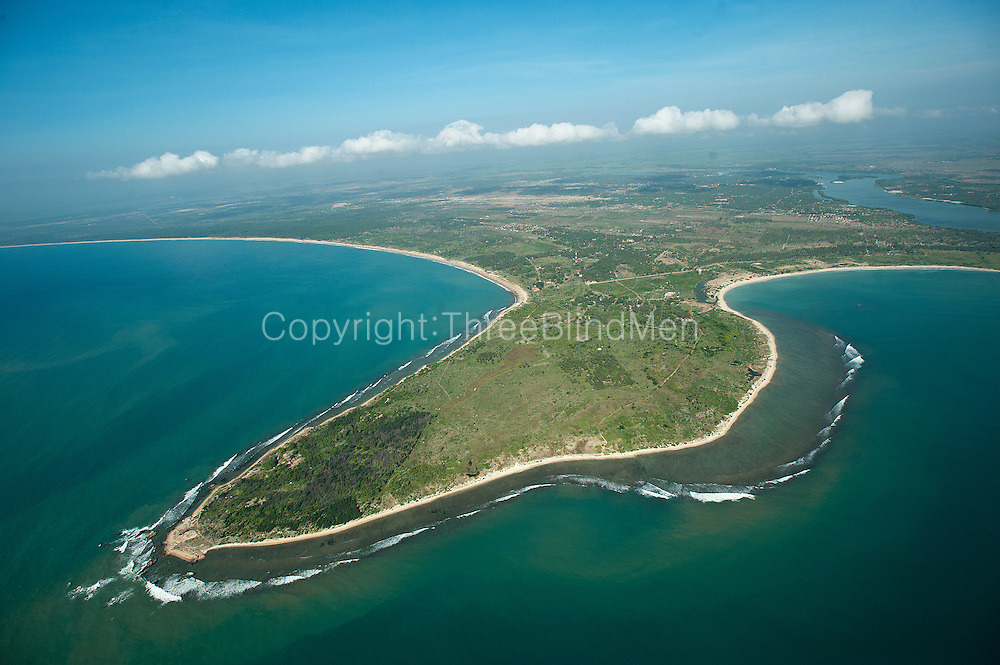 Aerial view over the East Coast bays of Passikudah and Kalkudah.
