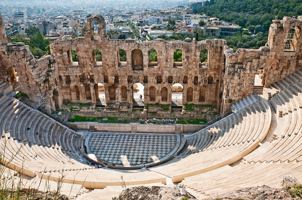 The Odeon of Herodes Atticus is an acient Greek amphitheater at the Acropolis in Athens