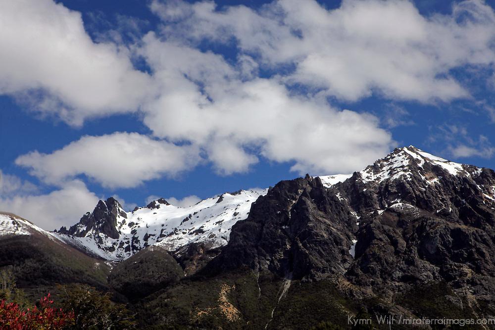 South America, Argentina, Bariloche. Cerro Lopez & Tronador Peaks viewed from Llao Llao Resort.