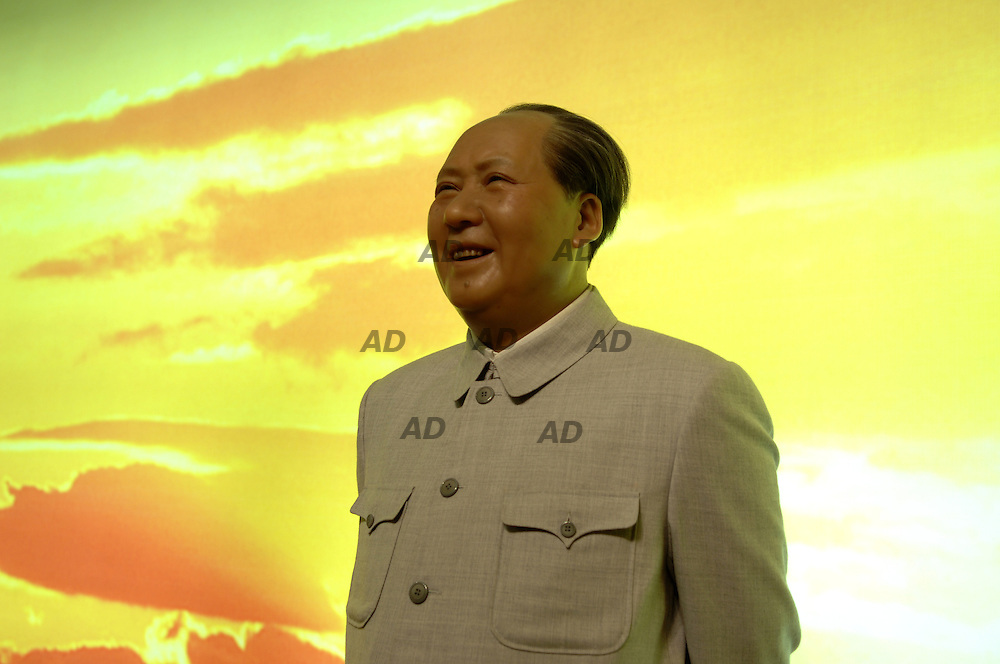 *** Local Caption *** Waxworks diorama of Mao Tzedong. Chairman Mao Zedong exhibited at the wax museum, as part of China's National Museum