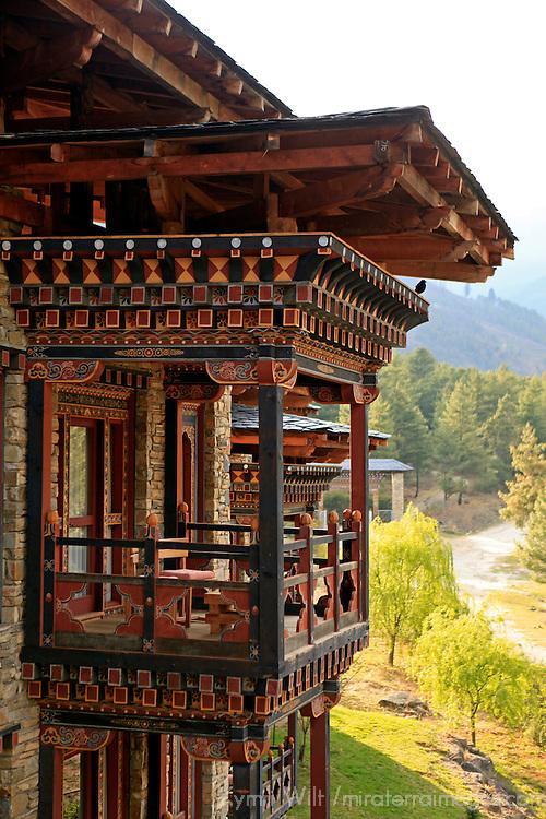 Asia, Bhutan, Paro. Balcony of a Zhiwa Ling hotel. room