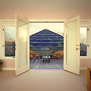 View from bedroom through french doors on to a patio. Michael Underhill architectural design.