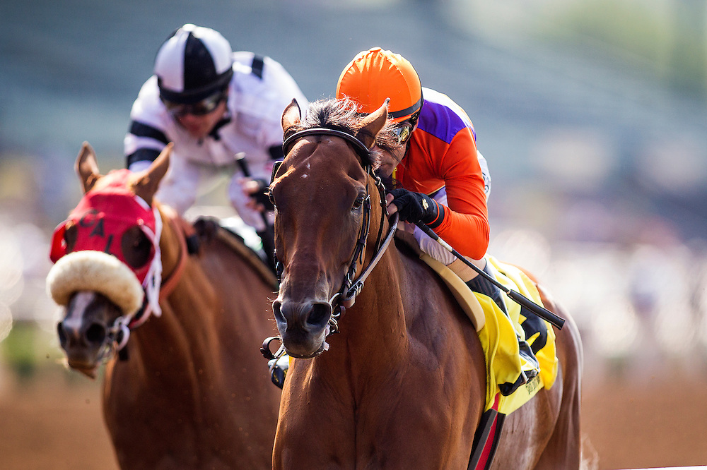 June 13, 2015: Beholder with Gary Stevens aboard wins the Adoration Stakes at Santa Anita Park in Arcadia CA. Alex Evers/ESW/CSM
