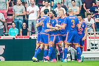 EINDHOVEN - PSV - Feyenoord , Voetbal , Seizoen 2015/2016 , Eredivisie , Philips Stadion , 30-08-2015 , Spelers van Feyenoord vieren de 0-1