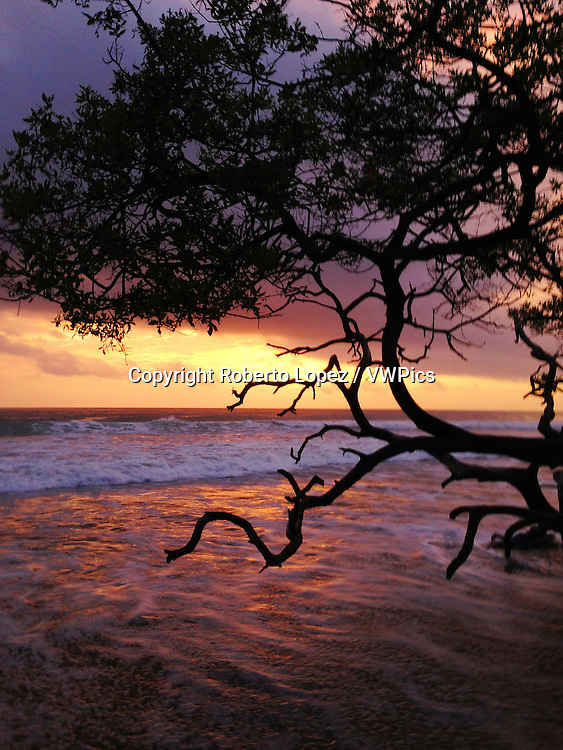 Sunset at the Avellanas Beach with the reflection of the sky's colors, Santa Cruz, Costa Rica.