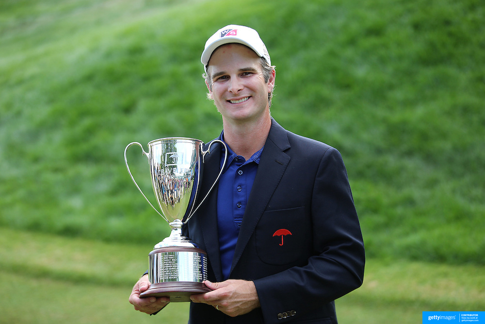 Kevin Streelman, USA, with the trophy after winning the Travelers Championship at the TPC River Highlands, Cromwell, Connecticut, USA. 22nd June 2014. Photo Tim Clayton