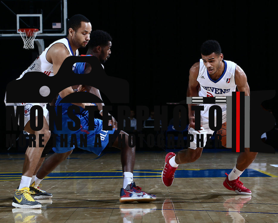 Delaware 87ers Guard TIMOTHE LUWAWU-CABARROT (20) dribbles past the defender in the first half of a NBA D-league regular season basketball game between the Delaware 87ers and the Oklahoma City Blue (Oklahoma City Thunder) Tuesday, Dec. 13, 2016, at The Bob Carpenter Sports Convocation Center in Newark, DEL