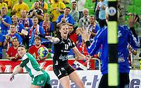 Linea Torstensson of Krim during handball match between RK Krim Mercator and Gyori Audi ETO KC (HUN) in 3rd Round of Group B of EHF Women's Champions League 2012/13 on October 28, 2012 in Arena Stozice, Ljubljana, Slovenia. (Photo By Vid Ponikvar / Sportida)