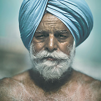 Sikh man wearing a turquoise 'dastar', Punjab, India.