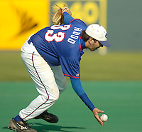 Jodi Miller Lubbock Avalanche-Journal.North Central Texas College Nathan Hood barehands a ball at third base.