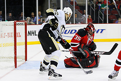 Dec 10, 2008; Newark, NJ, USA; New Jersey Devils goalie Scott Clemmensen (35) makes a save during the first period at the Prudential Center.