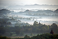View of Mrauk U from Shwetaung Paya (Golden Hill Pagoda) in Myanmar (Burma).