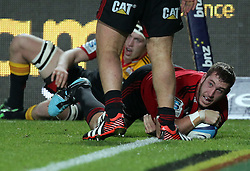 Crusaders' Luke Romano scores a try against the Crusaders in a Super Rugby match, Waikato Stadium, Hamilton, New Zealand, Friday, July 06, 2012.  Credit:SNPA / David Rowland