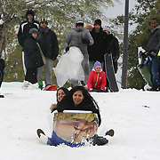 Israelis sled on a sign with the picture of Israeli Prime Minister Benjamin Netanyahu, in Sacher park in Jerusalem. December 13, 2013.  Photo by Oren Nahshon