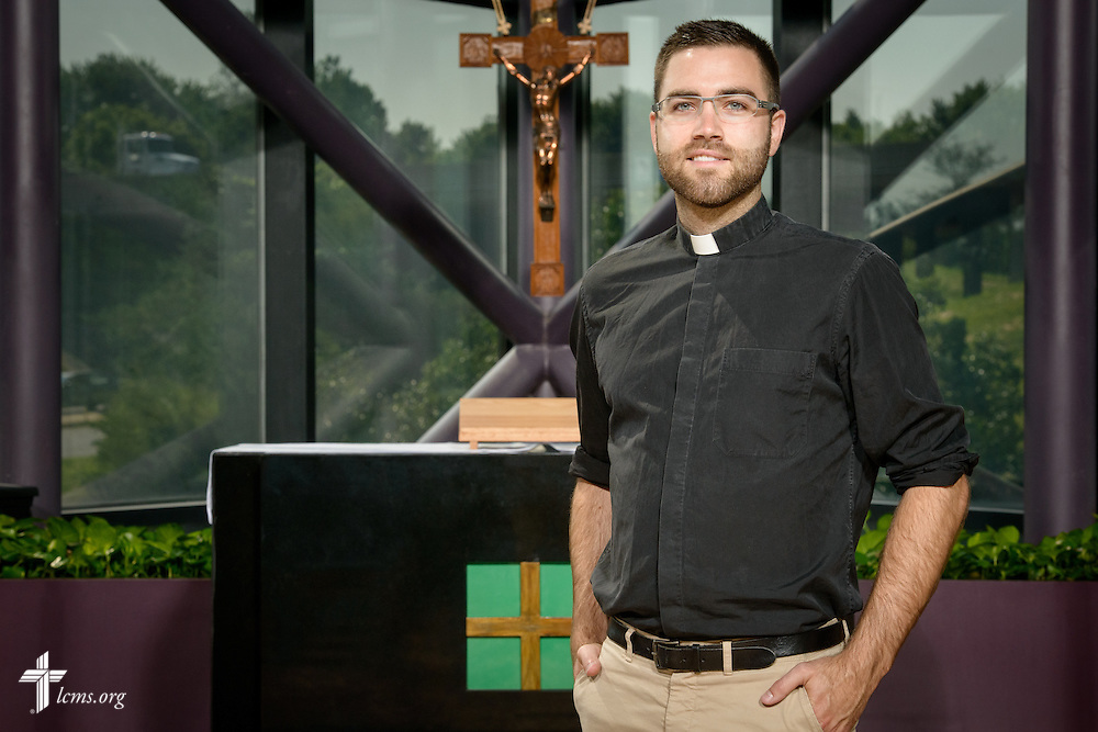 Portrait of the Rev. Jordan Tomesch, career missionary to Germany, at the International Center of The Lutheran Church–Missouri Synod on Monday, June 13, 2016, in Kirkwood, Mo. LCMS Communications/Erik M. Lunsford