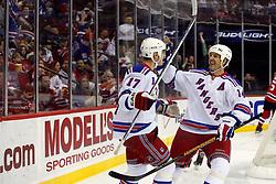February 1, 2008; Newark, NJ, USA;  New York Rangers left wing Brendan Shanahan (14) congratulates New York Rangers center Brandon Dubinsky (17) on his goal during the first period at the Prudential Center in Newark, NJ.