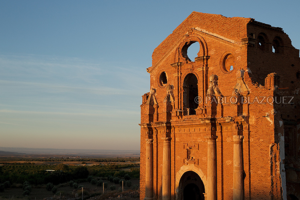 14/07/2016. The ruins of San Martin de Tours church stand on July 14, 2016 at Old Belchite village, in Aragon province, Spain. Before Franco's coup on 18 July 1936, Belchite village had a socialist mayor. Within a few days Franco's forces arrested Belchite's government. The battle of Belchite took place on 24 August to 7 September 1937, during the Spanish Civil War confronting left wing Republicans and right wing General Franco's forces, until the Republicans conquered the village. On March 1938, Franco's regime took control of Belchite again after approximately 30 bombings with the help of Italian's war planes. The result of these battles and bombings was a devastated village and over three thousands deaths. Then Franco ordered to leave the ruins untouched, as a living monument of war, and started to build the New Belchite village just beside. (© Pablo Blazquez)