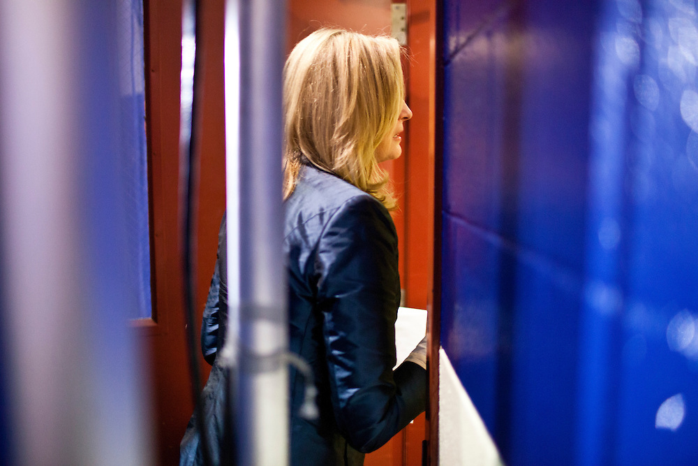 Ann Romney, wife of Republican presidential candidate Mitt Romney, leaves after a campaign rally on Wednesday, January 18, 2012 in Irmo, SC.
