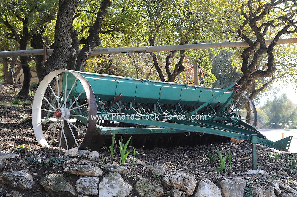 Israel, Lower Galilee, Kibbutz Alonim founded 1938. Display of old agricultural tools a harrowing tool