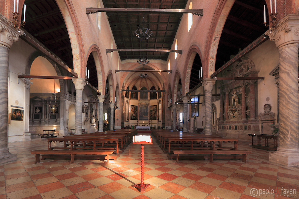 A view of the central nave of Madonna dell'Orto. .The Madonna dell'Orto is a church in Venice, Italy, in the sestiere of Cannaregio. The church, erected in the second half of the XIV century, is without any doubt one of the finest example of the Venetian gothic architecture.