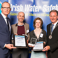 Dublin - Ireland, Tuesday 8th November 2016:<br /> Simon Coveney TD, Minister for Housing, Planning &amp; Local Government with 'Seiko Just In Time Award' recipients Donal Ward (Dublin) and Niamh Wrenn (Dublin) and Martin O'Sullivan, Chairman of Irish Water Safety at the annual Irish Water Safety Awards held at Dublin Castle.  Photograph: David Branigan/Oceansport