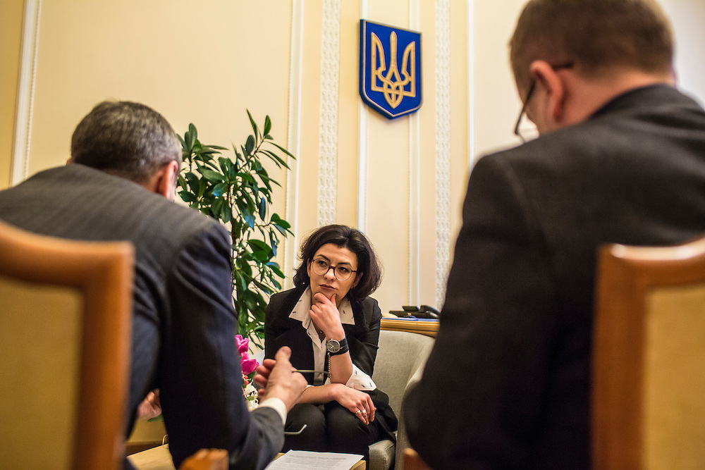 KIEV, UKRAINE - MARCH 4, 2016: Oksana Syroyid, center, deputy speaker of the Ukrainian parliament, participates in a security meeting with staff in her office in Kiev, Ukraine. Syroyid is one of parliament's main opponents of the constitutional reforms called for in the Minsk agreement intended to resolve fighting in eastern Ukraine. CREDIT: Brendan Hoffman for The New York Times